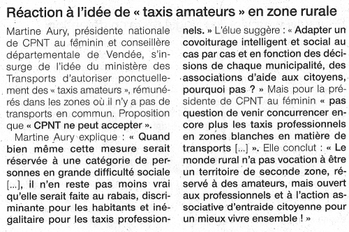 "9 aout 2018 - Ouest France - Réaction à l'idée de ""taxis amateurs"" en zone rurale"