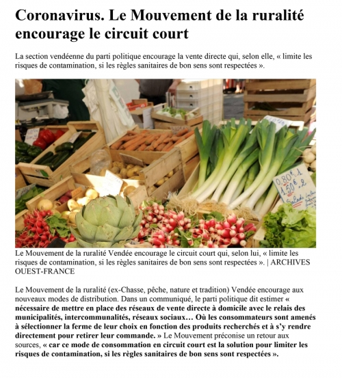 29 mars - Ouest France - Coronavirus : Le Mouvement de la ruralité encourage le circuit court